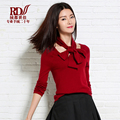 Christmas Autumn Winter O-Neck Full Sleeves Pullovers Knitted Slim Bottoming Solid Cashmere Wool Women Sweater With Bow