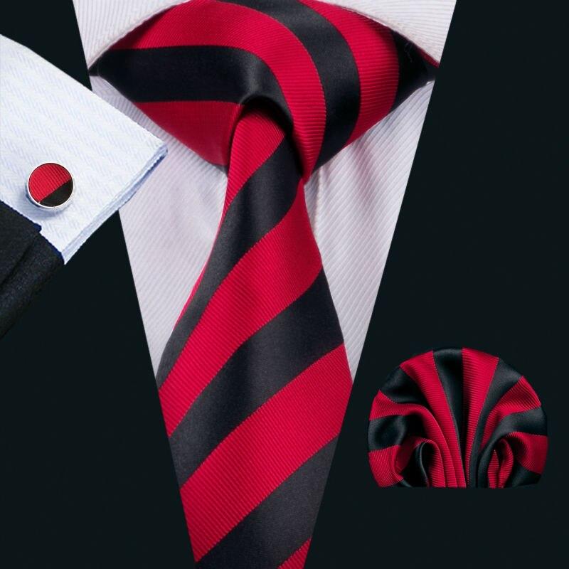 LS-1541 Barry.Wang Classic Men`s Tie 100% Silk Red Striped Necktie Hanky Cufflink Set For Men`s Wedding Party Business