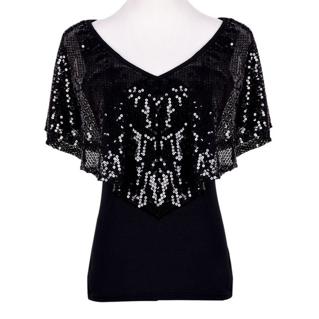 25d5088a Summer Women Sequined T shirts Lady Sparkle Glitter Tank Short sleeve Top T  Shirt S M L XL-in T-Shirts from Women's Clothing on Aliexpress.com |  Alibaba ...