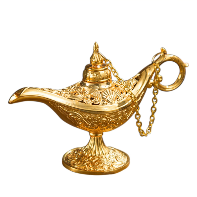Retro Traditional Hollow Out Fairy Tale Magic Lamp Tea Pot Genie Lamp Vintage Toy For Home Decor