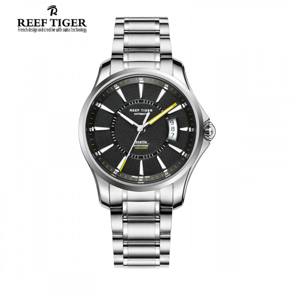 Reef Tiger/RT Sports Watch With Big Date and Super Luminous Stainless Steel Watches for Men Automatic Watch RGA166 rga r 981 sports watche red
