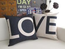 Funda de almohada amor, creativo de La Boda blanco negro carta amante pareja throw pillow case funda de almohada por mayor