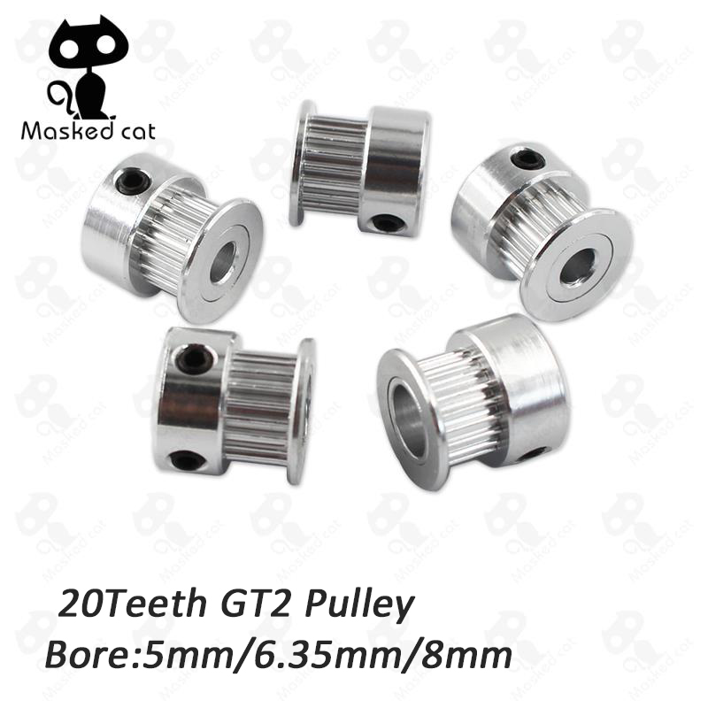 5pcs/lot GT2 Timing Pulley 20 teeth Bore 5mm 6.35mm 8mm for Width 6mm GT2 synchronous belt 2GT Belt pulley 20teeth powge 8pcs 20 teeth gt2 timing pulley bore 5mm 6mm 6 35mm 8mm 5meters width 6mm gt2 synchronous 2gt belt 2gt 20teeth 20t