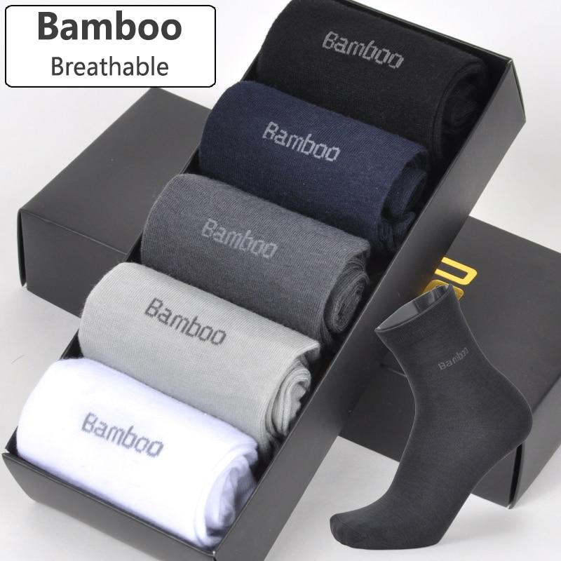 BENDU Brand Guarantee Men Bamboo Fiber   Socks   High Quality Casual Breatheable Anti-Bacterial Man Long   Sock   5pairs / lot   Socks