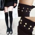 De alta qualidade por atacado rebite ao longo do joelho altas mulheres/girl fashion algodão meias boot