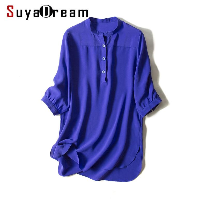 19mm 100%Natural Silk blouse Women Solid 3/4 sleeve Blouses Silk Chiffon Blusas femininas 2018 FALL NEW Blue