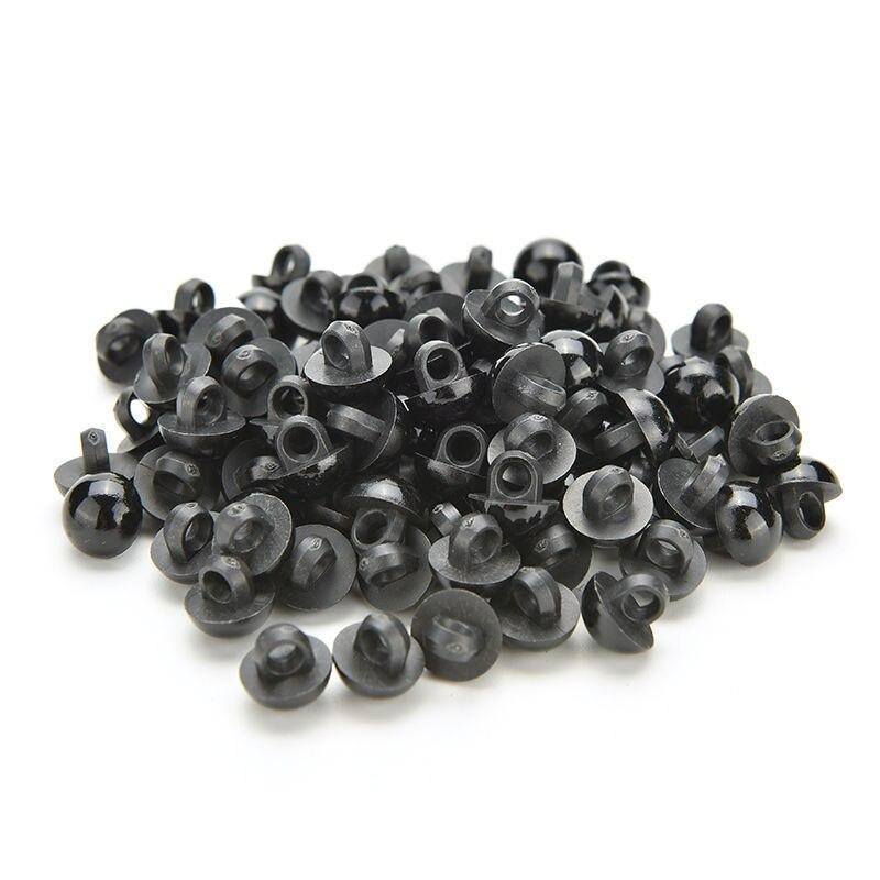 10 Black Matt Round Shank Buttons Dome Buttons