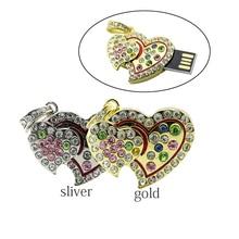 real capacity Crystal Heart USB Flash Drive Disk Necklace8GB 16GB 32GB heart jewelry usb pendrive creativo