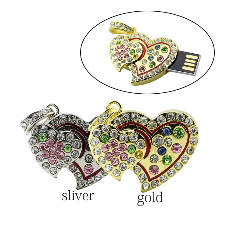 real capacity Crystal Heart USB Flash Drive Disk Necklace8GB 16GB 32GB heart jewelry usb pendrive creativo girl gift