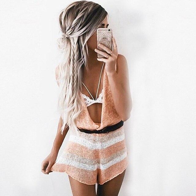 Best seller suave de punto de verano beach party club playsuit profunda v sexy mamelucos womens jumpsuit girls monos elegantes (withou cinturón