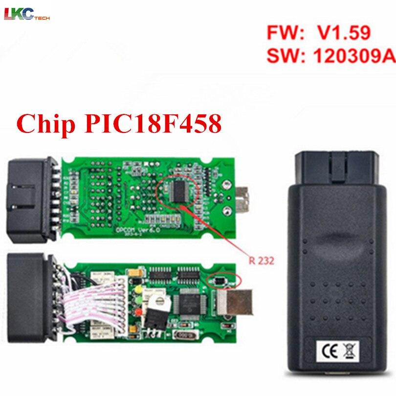imágenes para 20 unids/lote DHL Profesional Herramienta de Diagnóstico Opcom op-com V1.59 con PIC18F458 Chip de Interfaz Opcom para Opel OBD2 Auto escáner