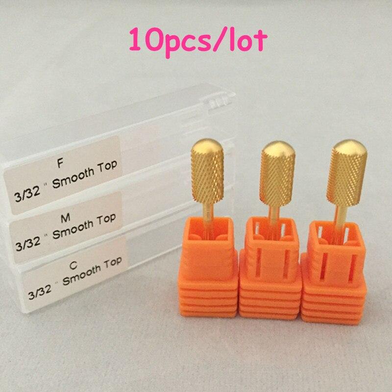 MAOHANG 10pcs lot Large Barrel Smooth Top Bit Coarse Medium Fine gold nail art salon electric