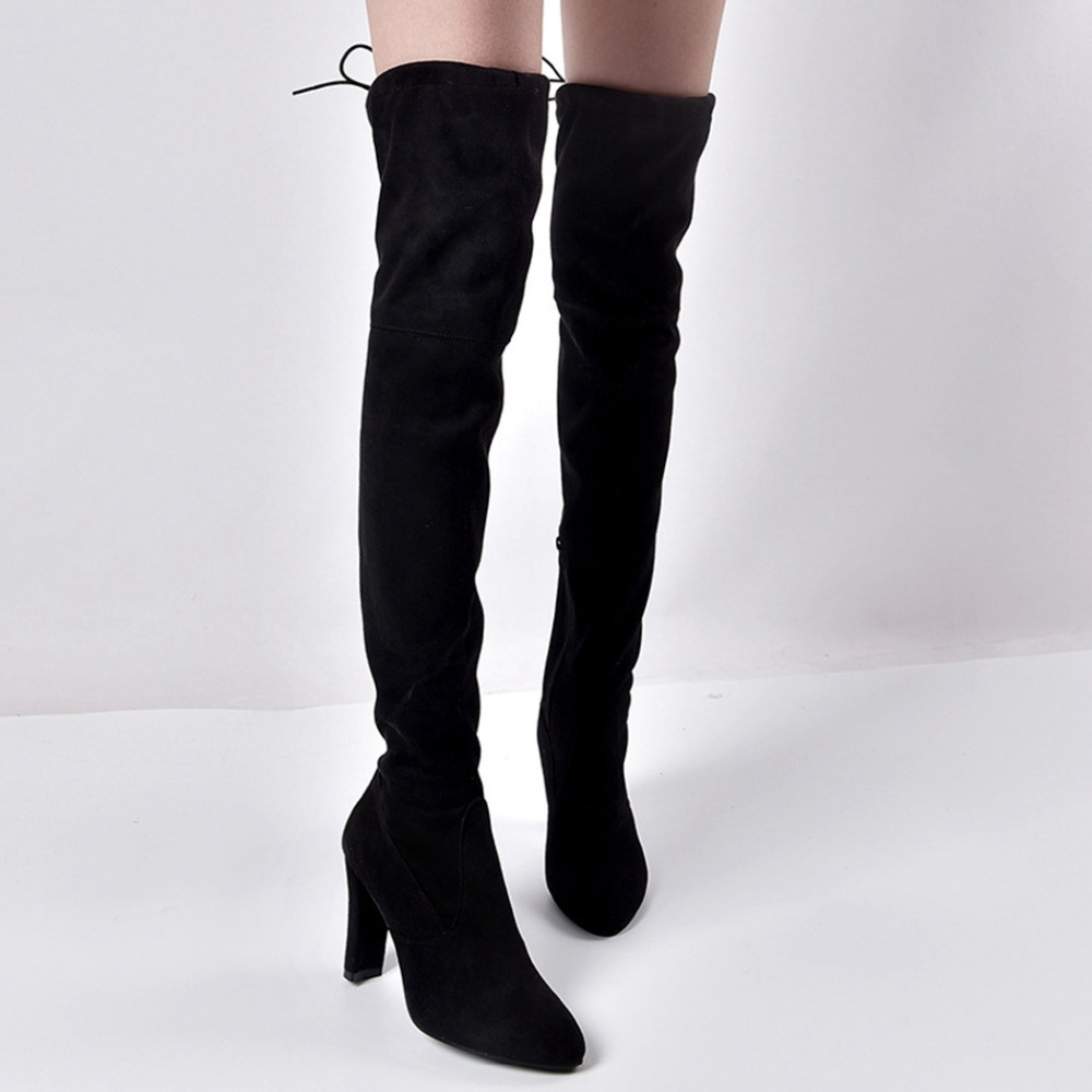 SHEHUIMEI Spring Autumn Winter Women Boots Pointed Toe Fashion Boots Flock Elastic Over the Knee Boots Side Zipper Stretch Boots