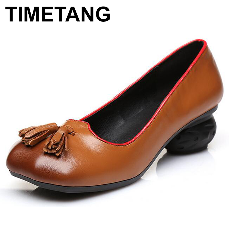TIMETANG 2017 Ethnic Style Handmade Shoes Women Thick Heels Pumps Round Toe High Heels Genuine Leather yaerni 2017 retro style women shoes flats platform handmade flower genuine leather thick heels round toe women causal shoes