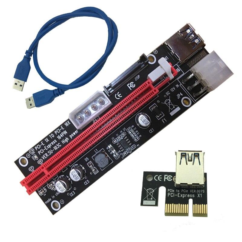 L 4pin 6pin Sata Power Pci Express 16x Slot Riser Card Usb 3 0 Pci E Pci Express 1x To 16x Pcie Riser For Bitcoin Miner Mining Pci Express 16x Pci Slot Expresssata Pci Express