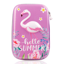 Cute stationery flamingo pen case Kawaii EVA Creative school supplies big pencil pouch large pencil case недорого