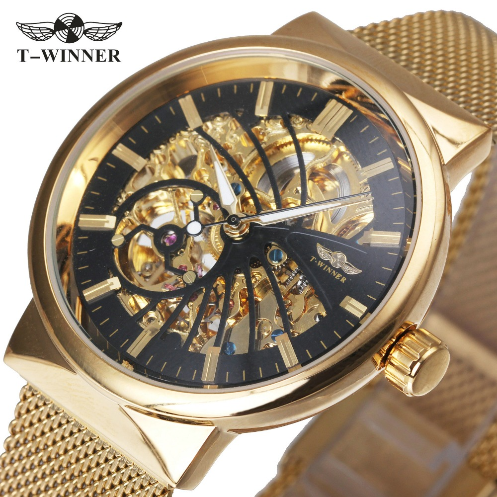 WINNER Luxury Ultra Thin Golden Men Auto Mechanical Watch Mesh Strap Carved Movement Skeleton Dial Top Fashion Brand Wristwatch winner men fashion black auto mechanical watch leather strap skeleton dial square shape round case unique design cool wristwatch