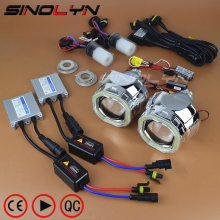 SINOLYN Car Styling Automobiles Full Metal HID Bixenon Projector Lens Headlight Kit COB LED Square Angel Eyes Devil Eyes DRL