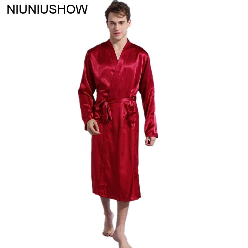 Burgundy Size S - XXL Chinese Men's Rayon Satin Casual Nightwear Robe Gown Solid Color Kimono Bathrobe Sleepwear Pajamas