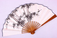 Hand Painted Chinese Gift Fan Painting Large Bamboo Rice Paper Fan Decoration Folding Hand Held Fan