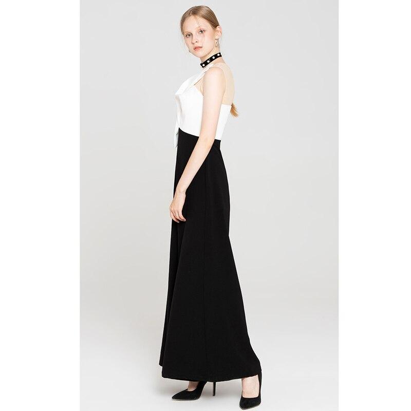 Sans De Pantalons Partie Vêtements Torsion Mode Arc Ensemble Manches Patchwork Large Salopette Haute Jambe Sexy Vente Noir Femmes 2018 Automne Qualité nO80wPk