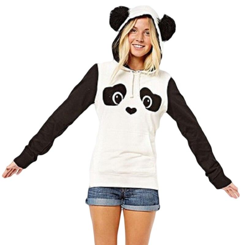 New Fashion High Quality Women's Winter Warm Panda Fleece Pullover Jumper HoodedSweater Coat Tops