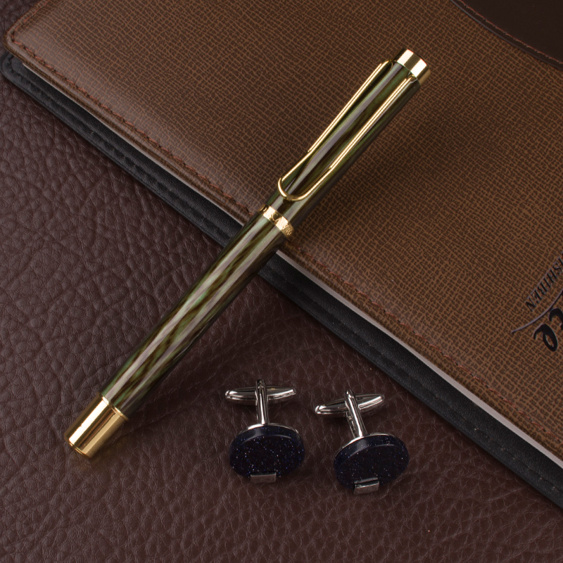 High Quality Bamboo pole Pattern green Office Stationery birthday present metal Roller Ball Pen Business cufflinks set box dikawen 891 gray gold dragon clip 0 7mm nib office stationery metal roller ball pen pencil box cufflinks for mens luxury
