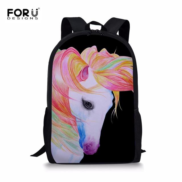 FORUDESIGNS Horse Kids School Bags Cartoon School Book Shoulder Bags  Bakckpacks for Teenage Girls Children School Bag Mochila 7b9ac8e8614d0