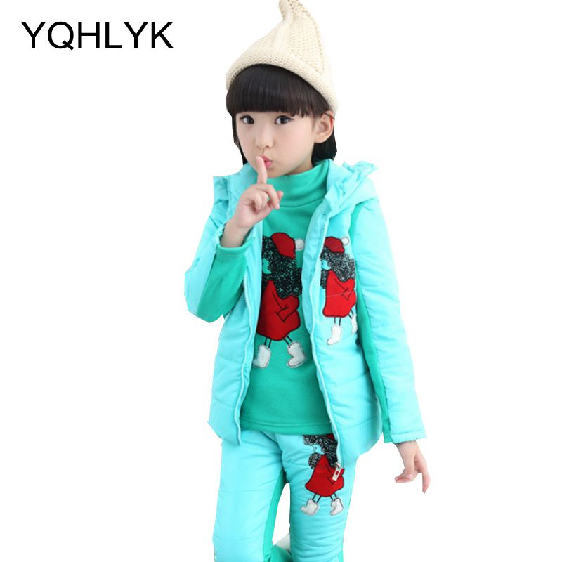 New Fashion Winter Cotton Girl Suit 2017 Korean Children Hooded Tops + Vest + Trousers Casual Warm Kids Clothes 3PSC Set W28 new winter women down cotton jackets fashion solid color hooded thicker keep warm casual tops plus size elegant coat okxgnz a752