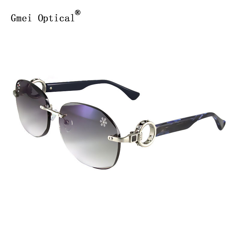 Gmei Optical 033 Pink Rimless Gradient Tinted Sunglasses with Diamond Accessories for Women Sunwear