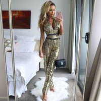 New V Neck Backless Woman Sequin Sexy Jumpsuits Gold Striped Bodysuit Leotard Rompers Party casual Fashion Long Halter Overalls