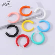 Badu Simple Cute Earrings For Women Fashion Candy Colors Plastic Hoop 2019 New Holiday Summer Jewelry Gift for Girls