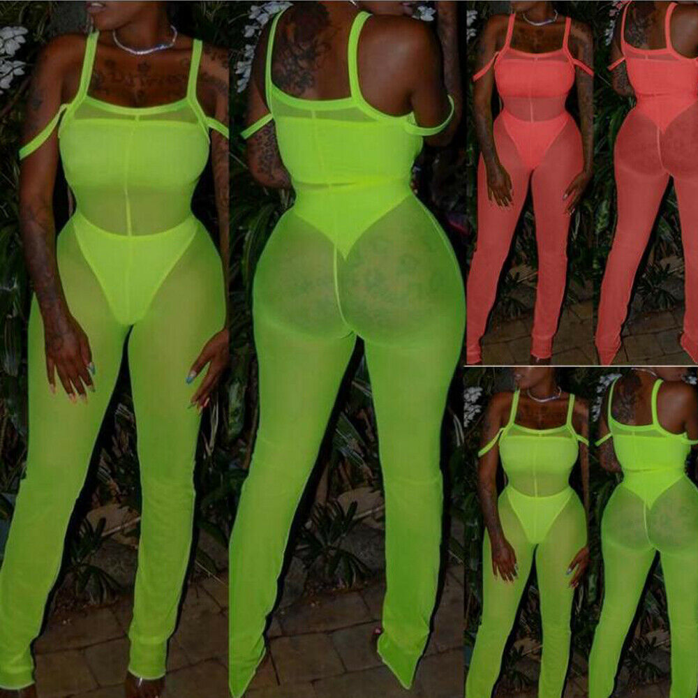2019 New Mesh jumpsuit Beach Cover Up Sexy Women See Through Ruffle Bikini Swimsuit Cover Ups Beach Pants 1
