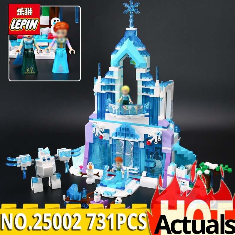 Lepin Model building kits compatible legoings city 25002 Elsa Magical Ice Castle 3D blocks Educational toys for children hobbies