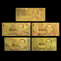 Wholesale Thailand Colorful 24K Gold Banknote 20,50,100,500,1000 Currency Paper Money with Certificate Card for  Business Gift