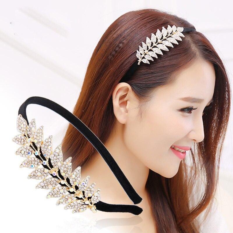 Luxury Sweet Women Hair Accessories Leaf Rhinestone Many Color Hairband Shinning High-end Korea Female Hairwear Fashion Headand