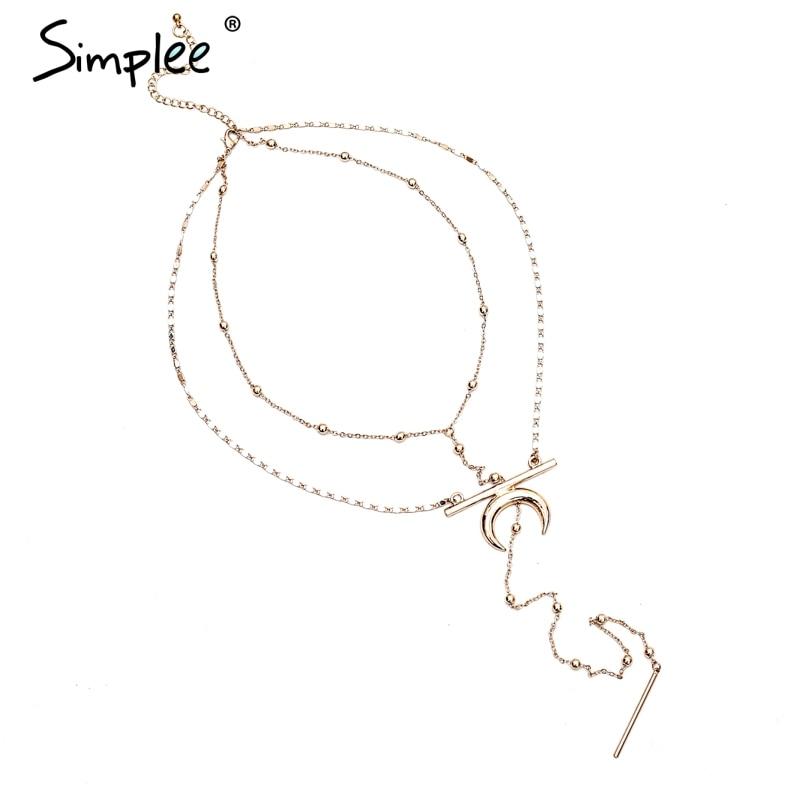 Prix pour Simplee D'or lune chaîne colliers et pendentifs Deux pièces puissance collier fine bijoux Longue vintage femmes vêtements accessoires