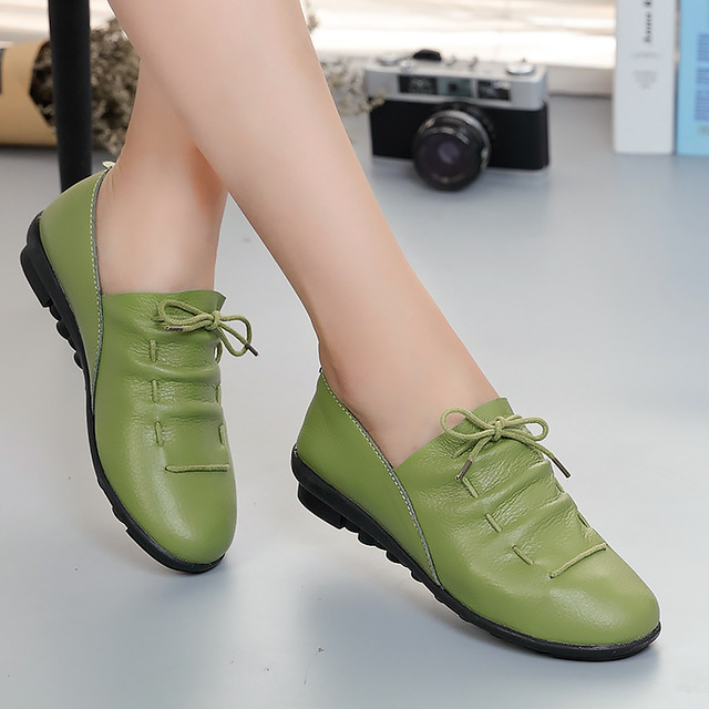 Women shoes 2018 new arrival spring lace-up pleated genuine leather flats shoes woman rubber party female shoes tenis feminino(China)