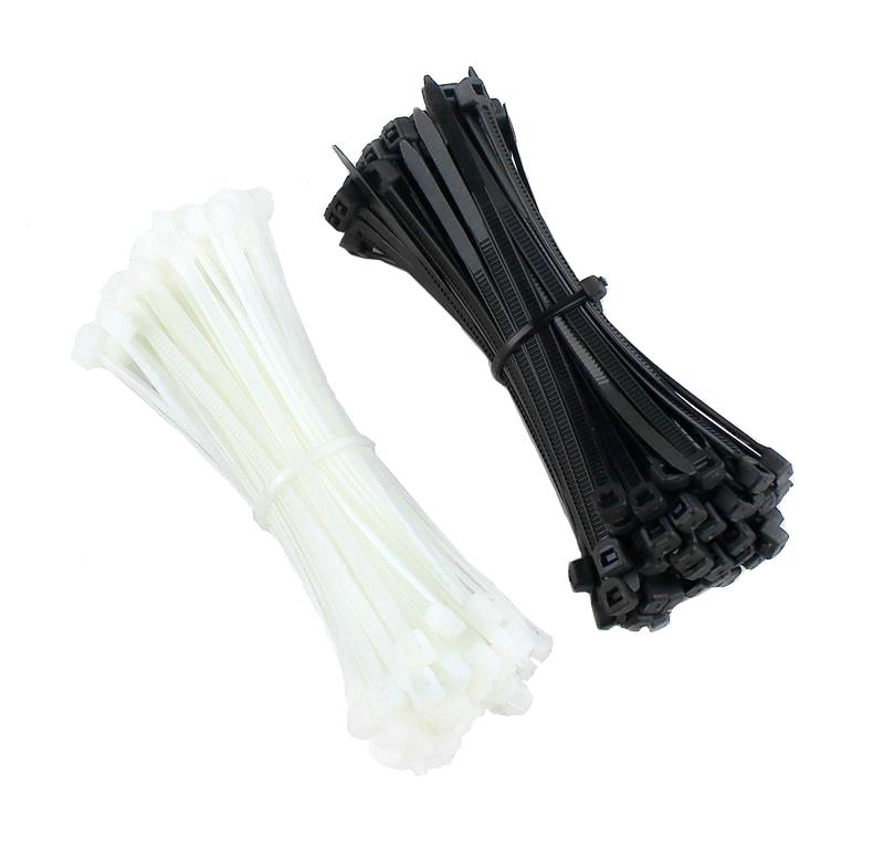 100PCS 3 X 60 80 100 120 150 200mm Black white Milk Cable Wire Zip Ties