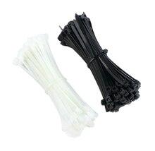 100 шт 3X60/80/100/120/150/200 мм черный белый молоко кабель провод, кабельные стяжки, самоблокирующиеся Нейлоновые хомуты