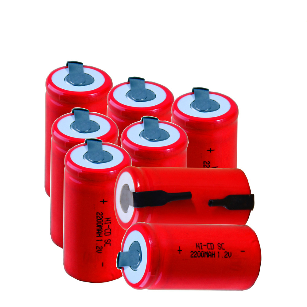8 pcs SC 2200mah 1.2v battery NICD rechargeable batteries for emergency light toy equipment power 4.25cm*2.2cm for power tools