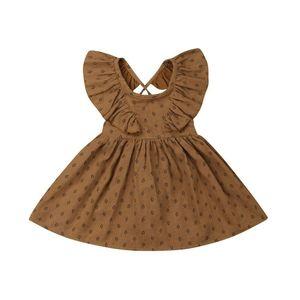 2019 Summer Kids Baby Girl Ruffles Sleeve Brown Retro Style Beach Boho Party Suspender Dress Sundress Clothes(China)