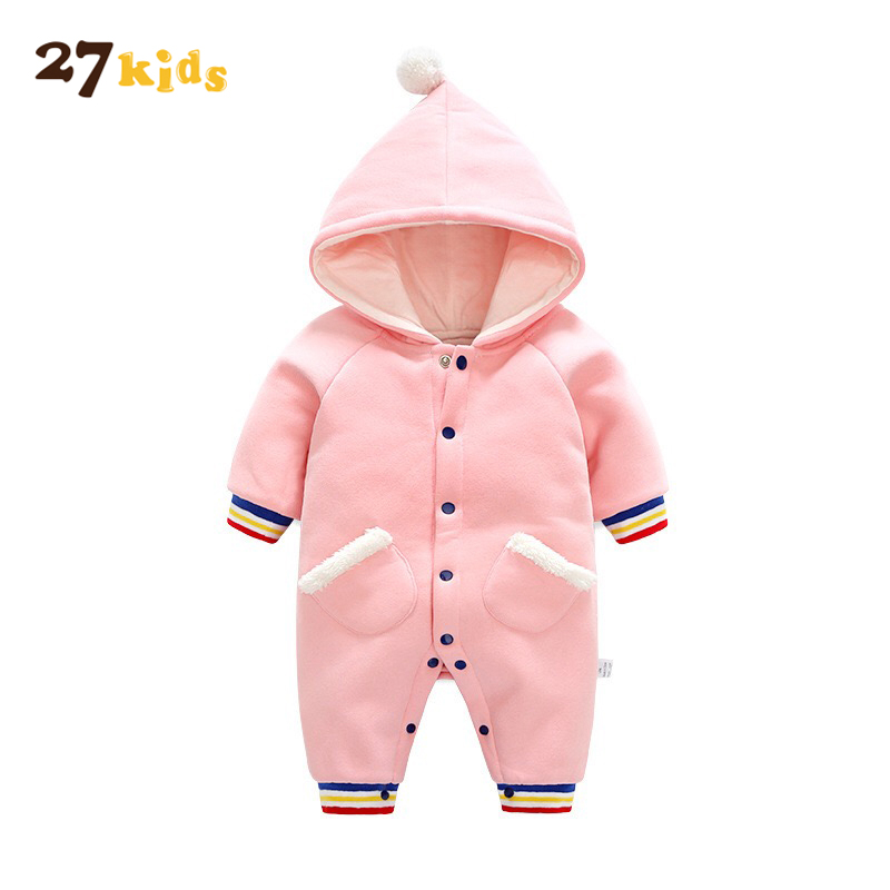 27 Kids Baby Clothes Cotton Baby Rompers Winter Thick Clothes Newborn Boys Girls Warm Romper Children Hooded Clothing Outwear baby clothes new hot 100% cotton winter and autumn baby rompers baby clothing boys girls infant newborn kids long sleeve clothes