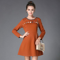 Women Embellished Dress Long Sleeve A Line Beaded Autumn Winter Dresses Plus Size L To 4xl
