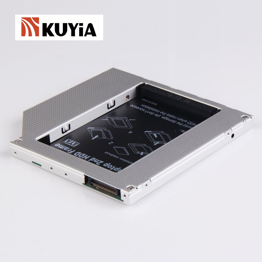 KUYiA 2ème Disque Dur Baie Caddy 9.5mm PATA/IDE à SATA pour ordinateurs portables-9.5mm sur Votre Ordinateur Portable 2.5 pouce Disque Dur Interne boîtier