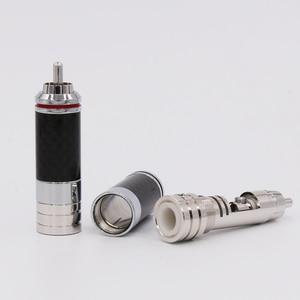 Image 3 - Connecteur RCA en Fiber de carbone 4 pièces en cuivre plaqué Rhodium sans soudure