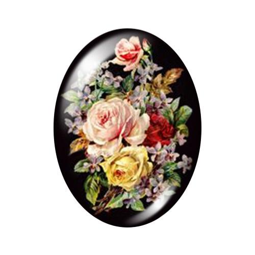 Красивые Винтажные Цветы Роза Маргаритка 10 шт. 13x18 мм/18x25 мм/30x40 мм овальные фото стекло кабошон демонстрационная плоская задняя часть изготовление TB0043 - Цвет: J