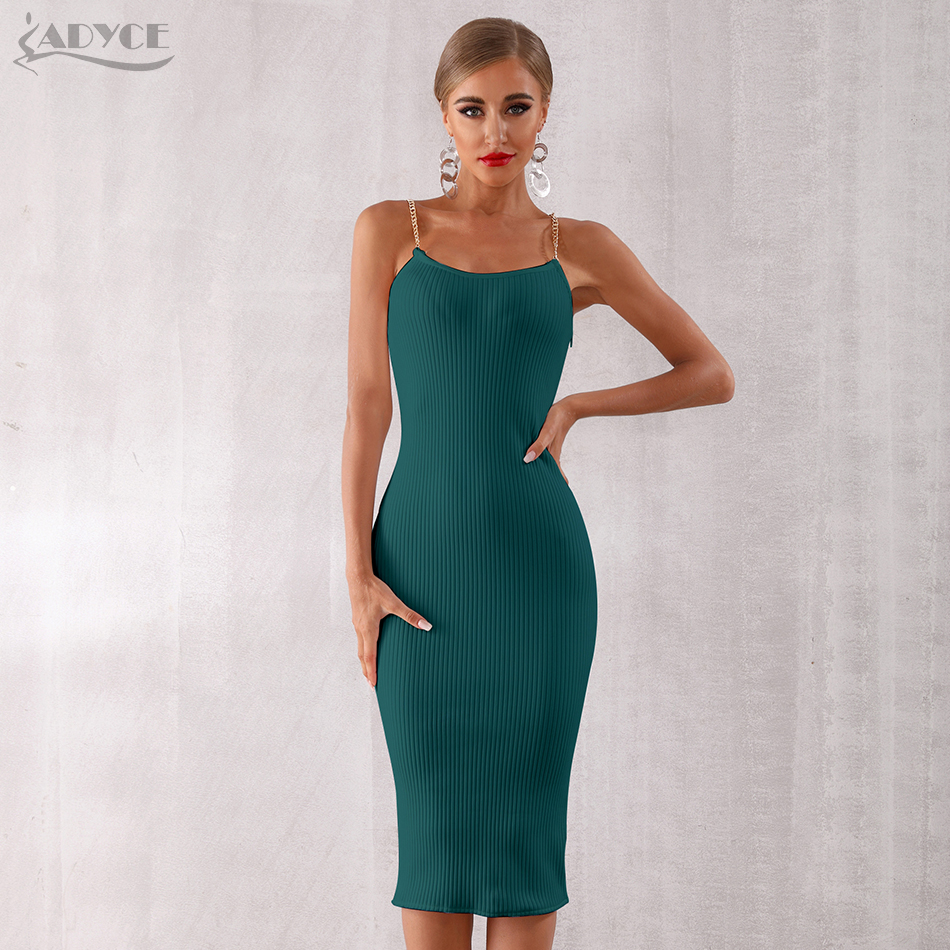 Adyce 2020 New Summer Women Bodycon Bandage Dress Sexy Chain Spaghetti Strap Club Dress Celebrity Evening Party Dresses Vestidos