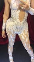 Custom New Angel Wings Feathers Crystal Jumpsuit Singer Dj Dance Party Dress Sexy Sparkly Performance Show Bodysuit Wear