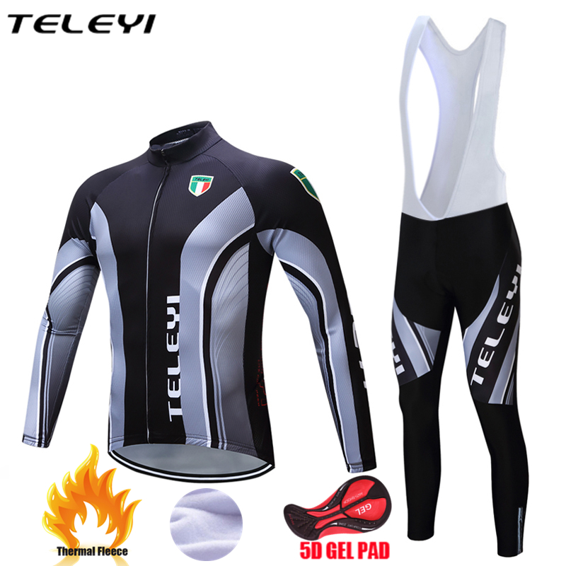 TELEYI Bicycle jersey men Long Sleeve Ropa Ciclismo 2017 Winter bike outdoor sport clothes 5D pad breathable cycling jersey WY11 teleyi men cycling jersey bike long sleeve outdoor bike jersey bicycle clothing wear breathable padded bib pants set s 4xl